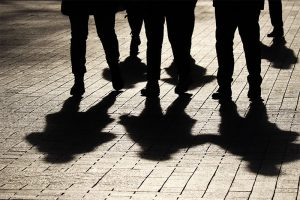 Shadows of a group of people